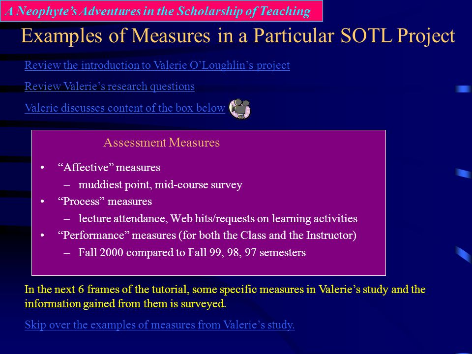 Examples of Measures in a Particular SOTL Project