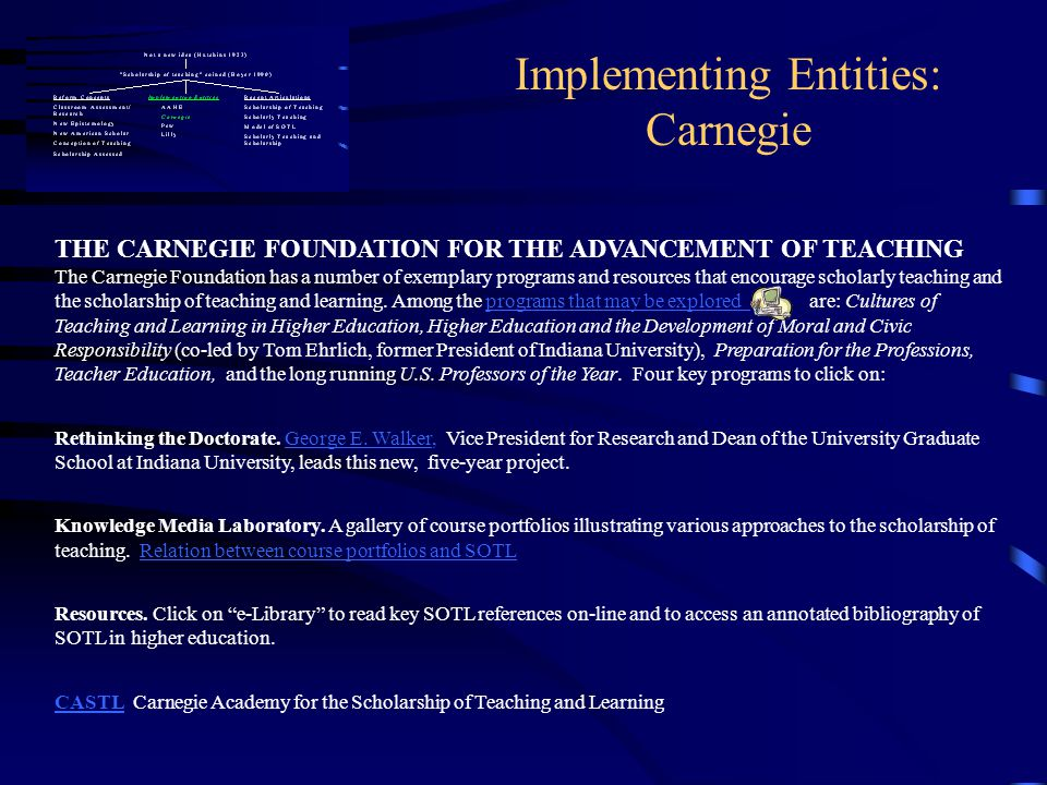 Implementing Entities: Carnegie