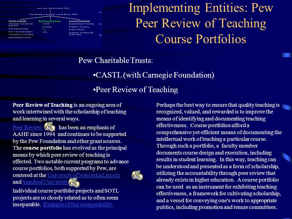 Implementing Entities: Pew Peer Review of Teaching Course Portfolios