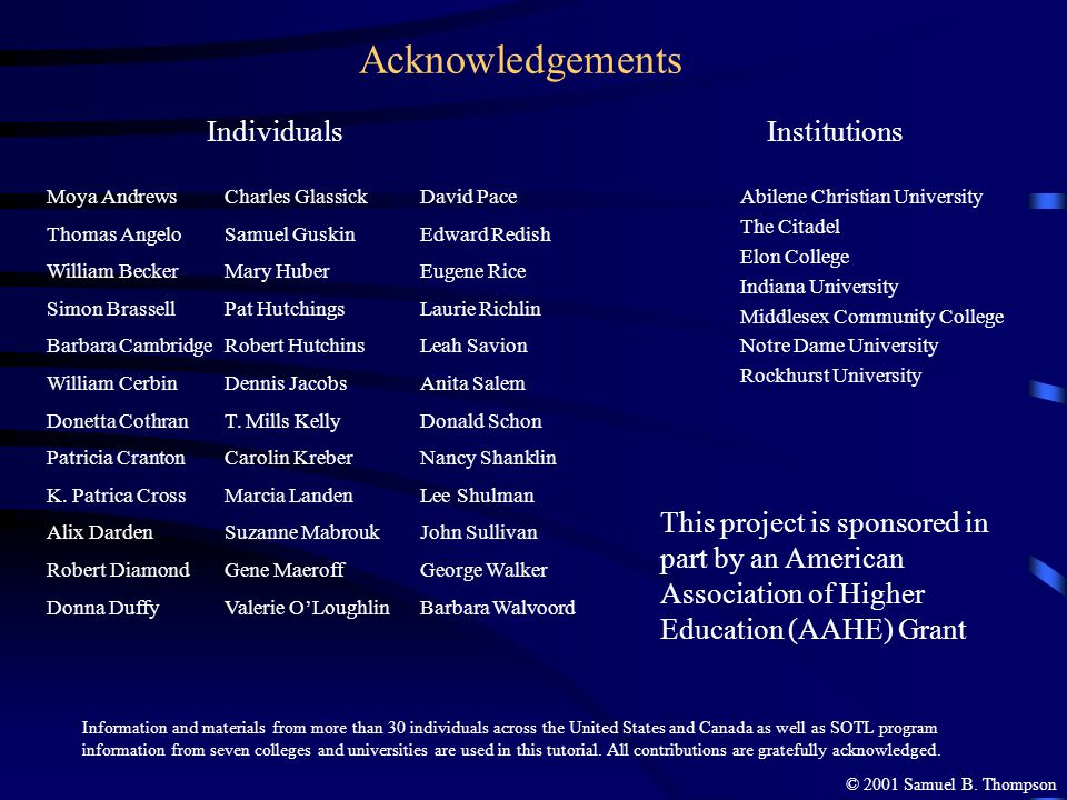 Acknowledgements Individuals Institutions