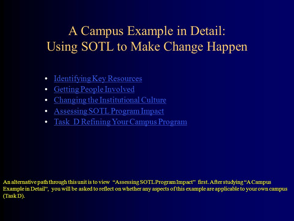 A Campus Example in Detail: Using SOTL to Make Change Happen