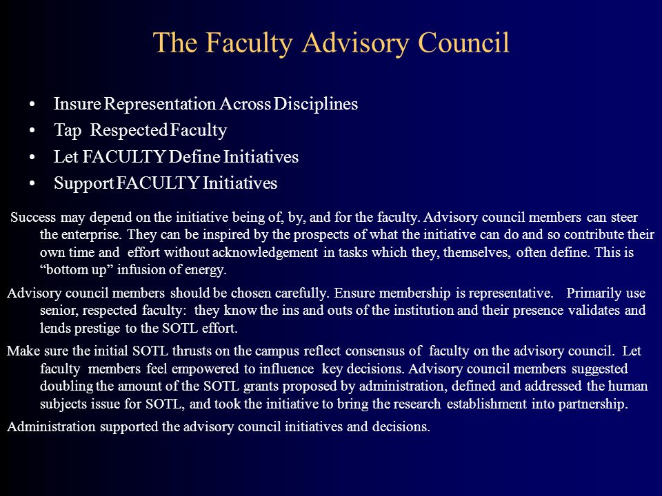 The Faculty Advisory Council