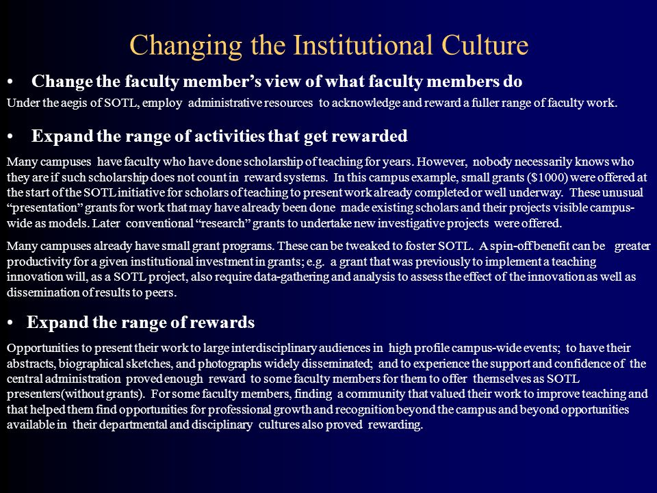 Changing the Institutional Culture
