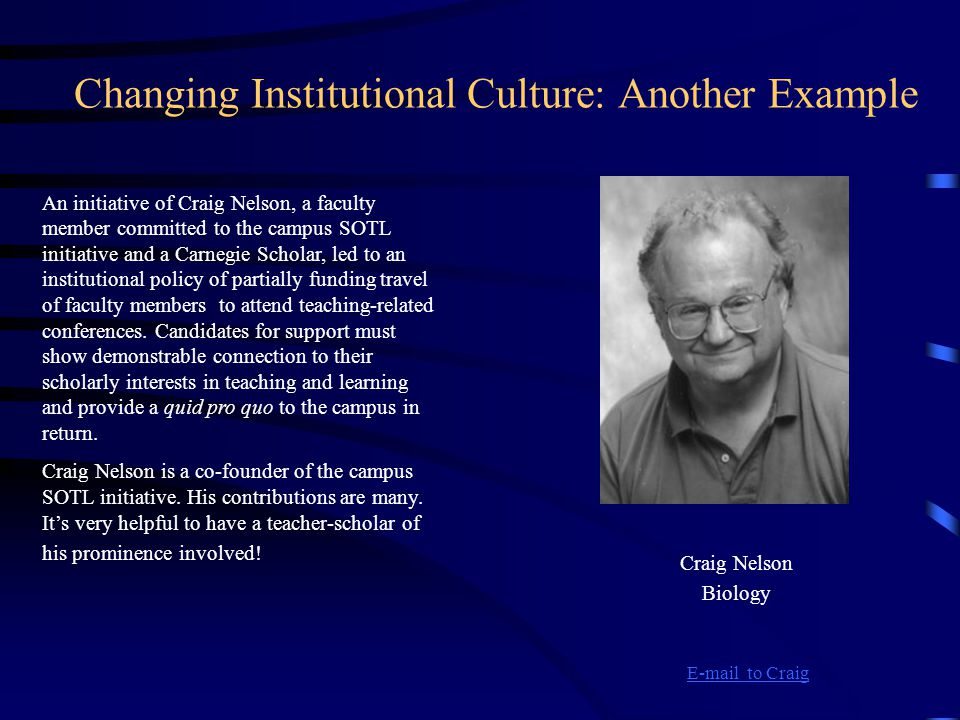 Changing Institutional Culture: Another Example