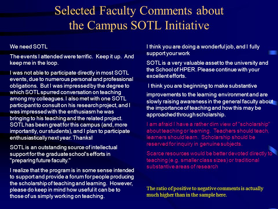 Selected Faculty Comments about the Campus SOTL Initiative