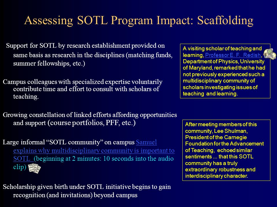 Assessing SOTL Program Impact: Scaffolding