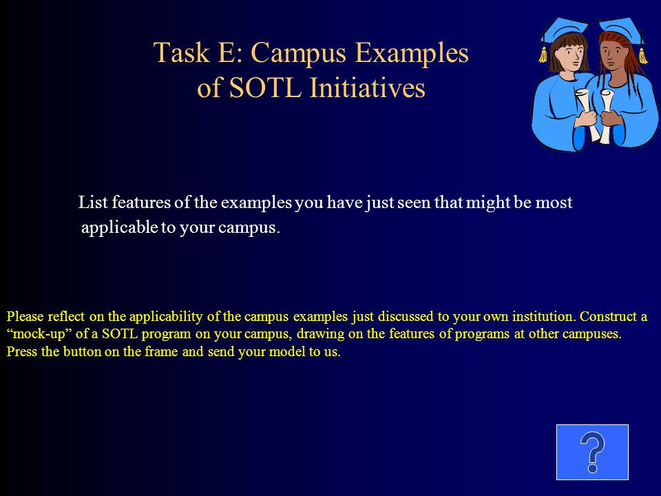 Task E: Campus Examples of SOTL Initiatives