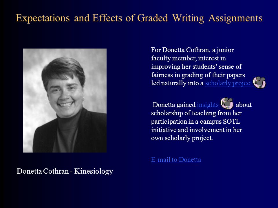 Expectations and Effects of Graded Writing Assignments