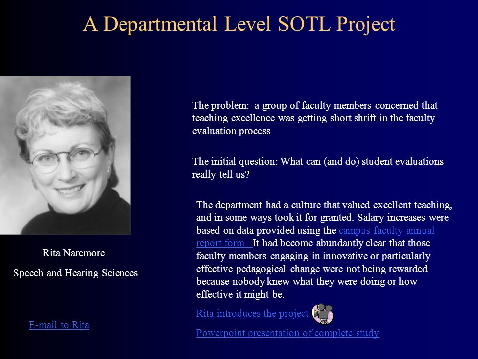 A Departmental Level SOTL Project