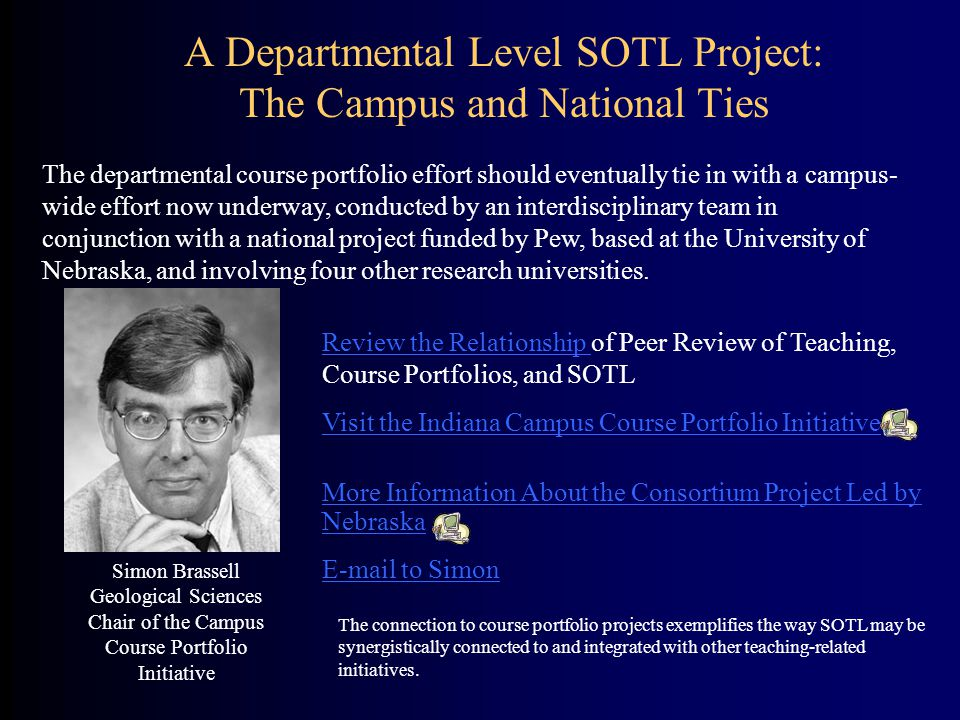 A Departmental Level SOTL Project: The Campus and National Ties