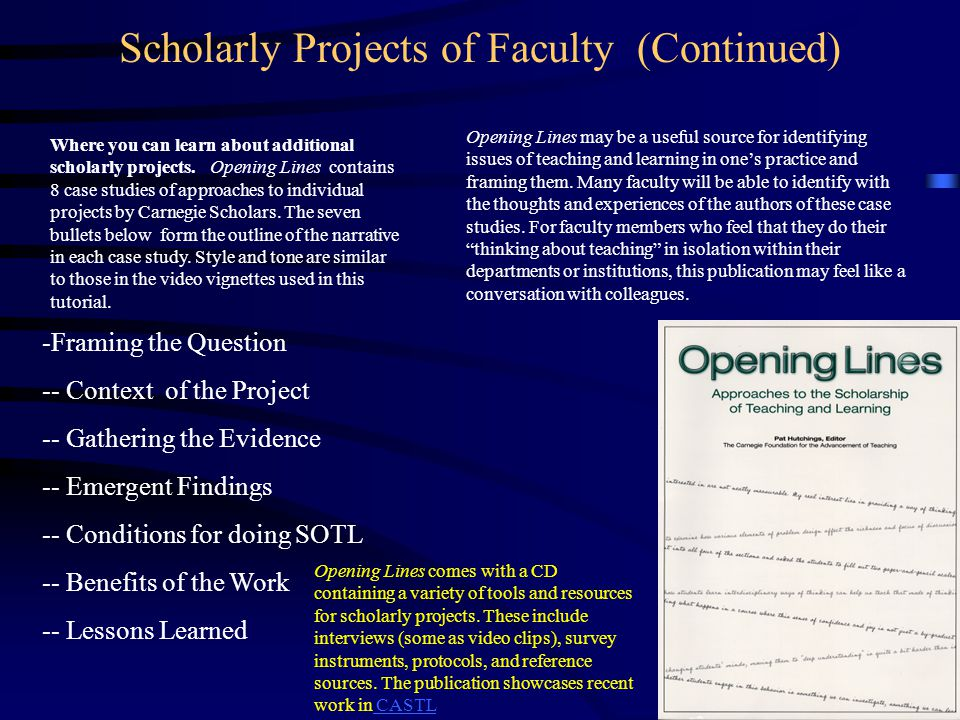 Scholarly Projects of Faculty (Continued)