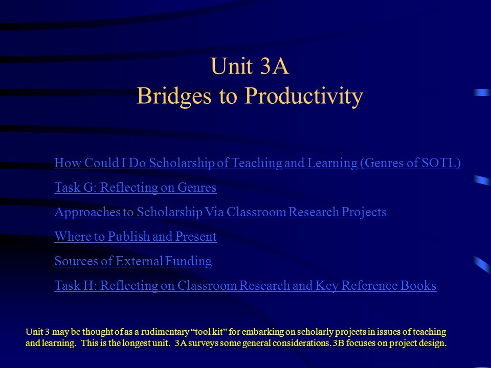 Unit 3A Bridges to Productivity