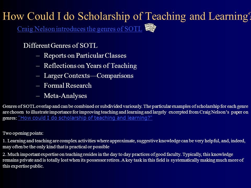How Could I do Scholarship of Teaching and Learning