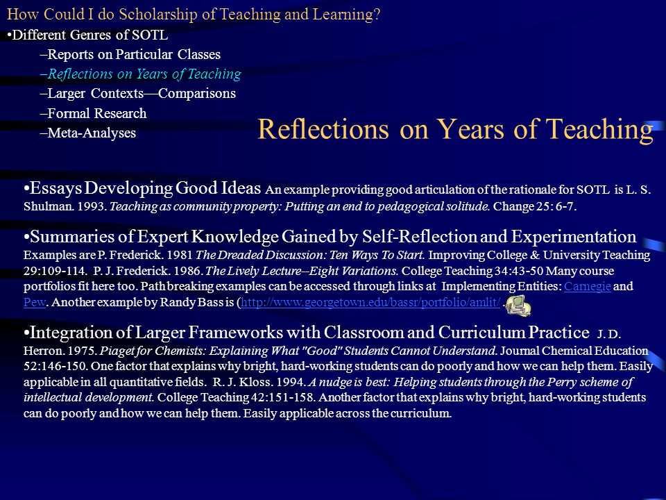 Reflections on Years of Teaching