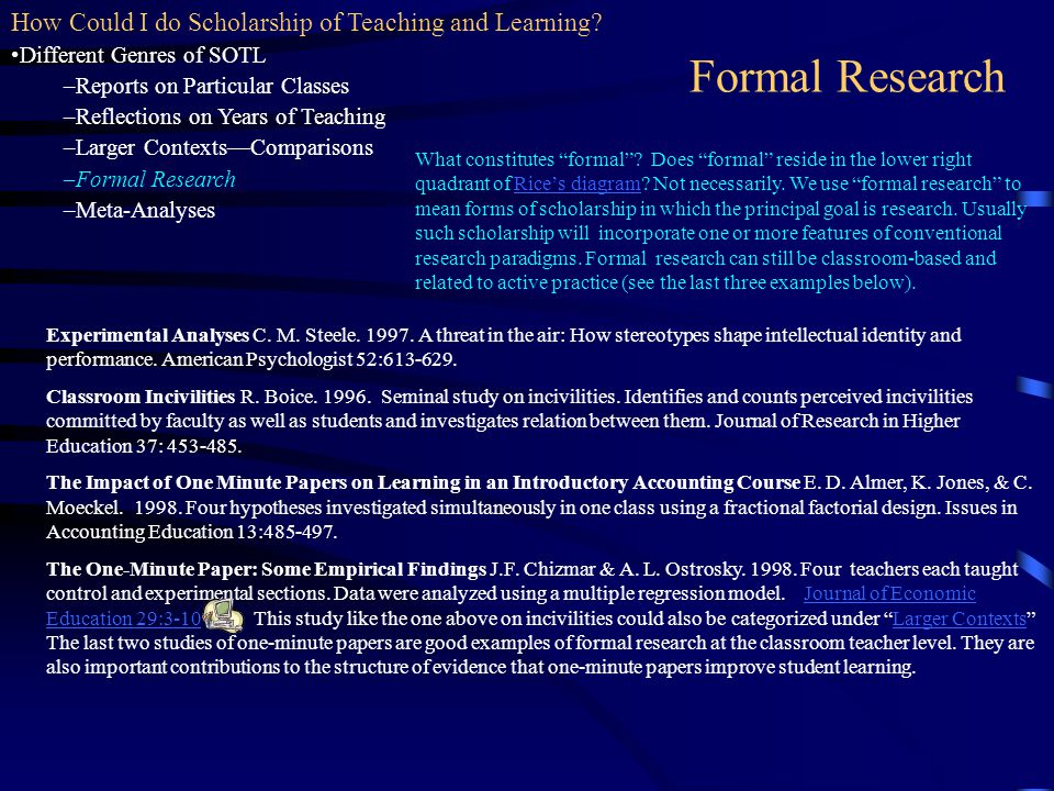 Formal Research How Could I do Scholarship of Teaching and Learning