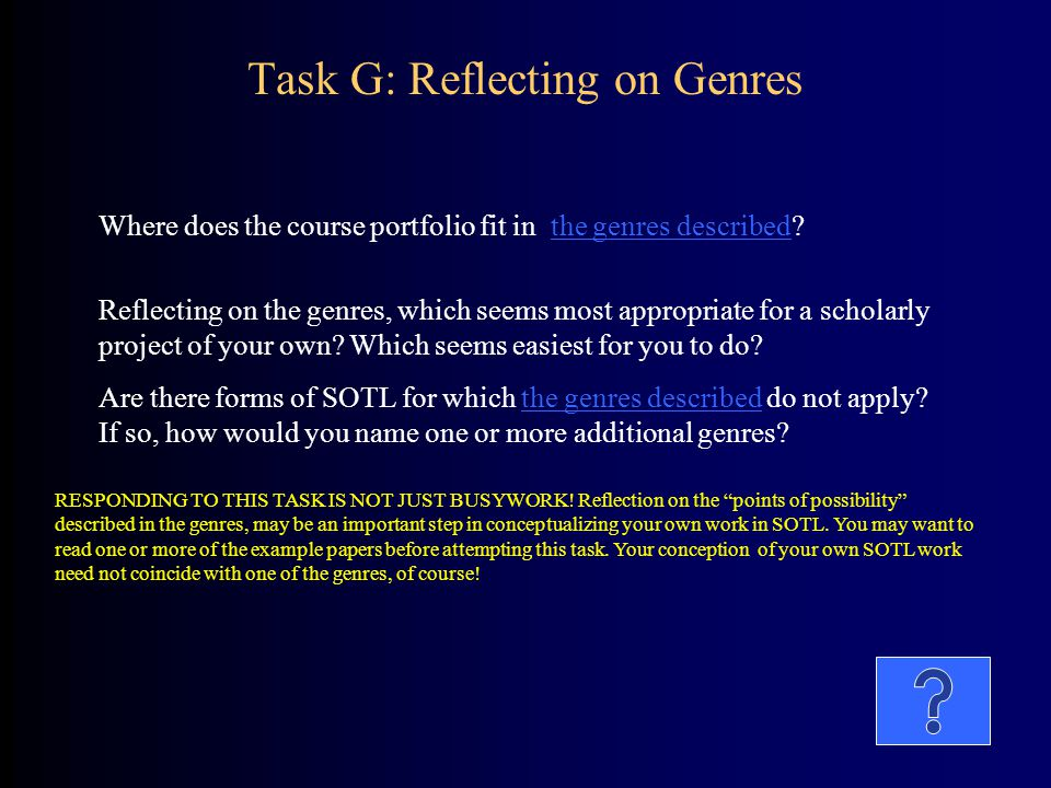 Task G: Reflecting on Genres