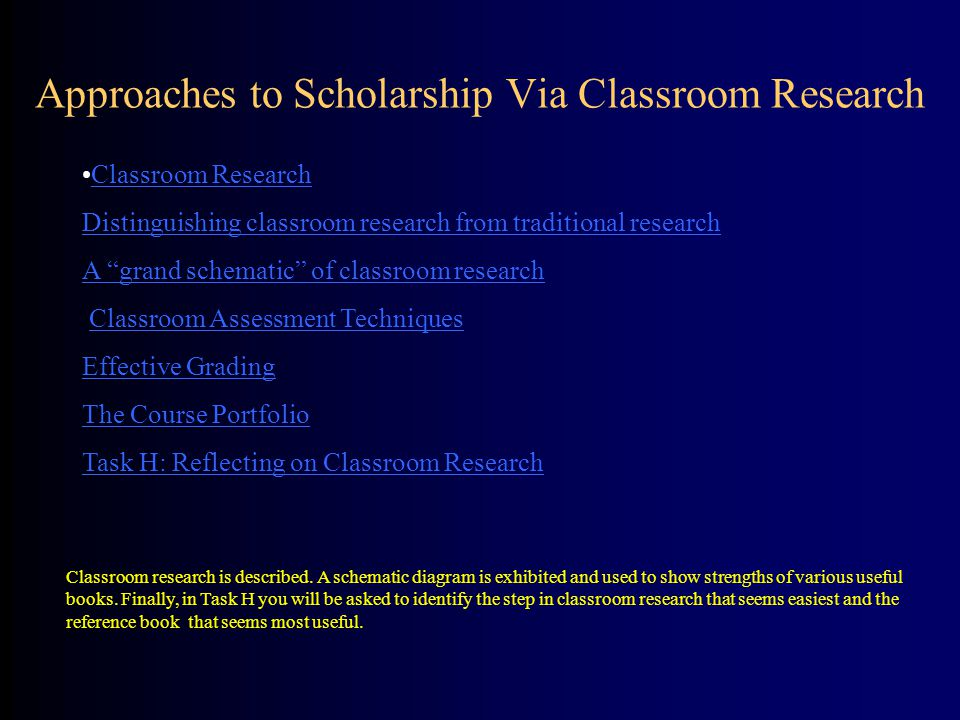 Approaches to Scholarship Via Classroom Research