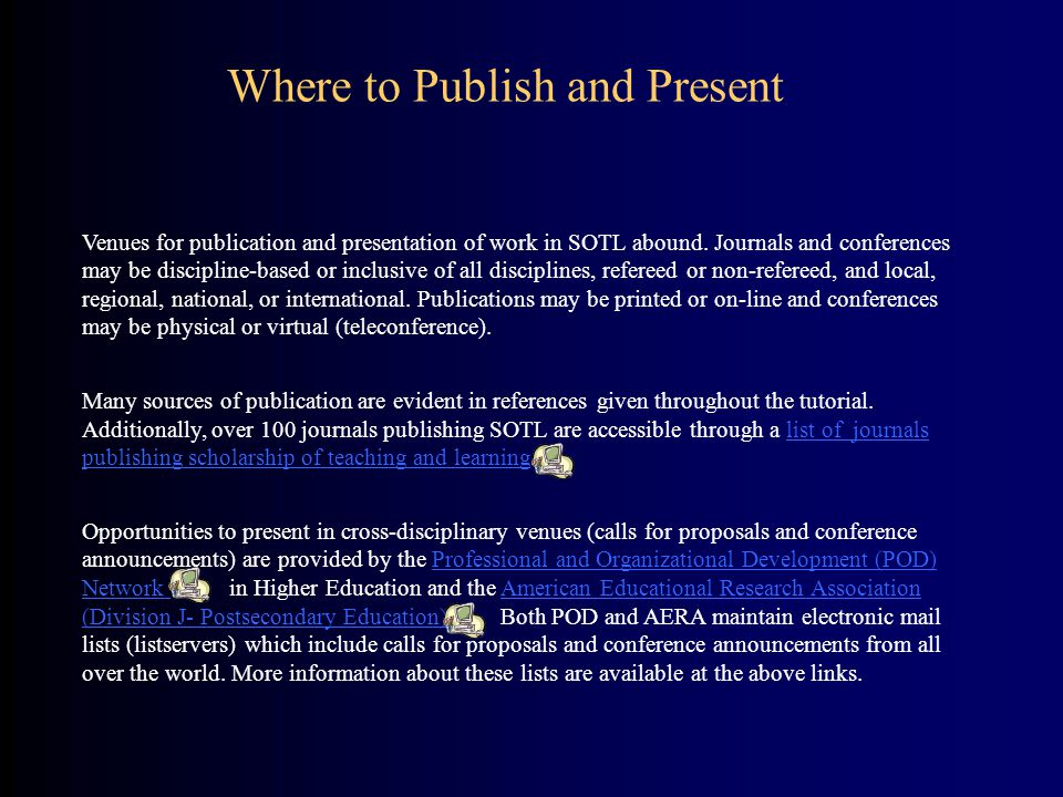 Where to Publish and Present