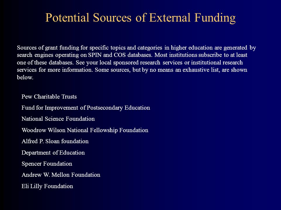 Potential Sources of External Funding