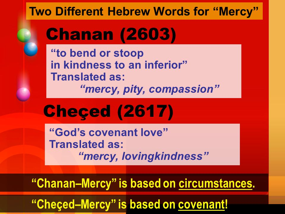 Chanan (2603) Cheçed (2617) Chanan–Mercy is based on circumstances.