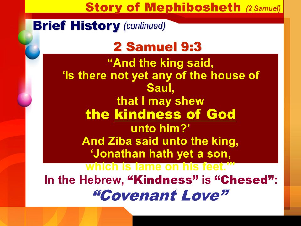 Covenant Love Story of Mephibosheth (2 Samuel) Brief History
