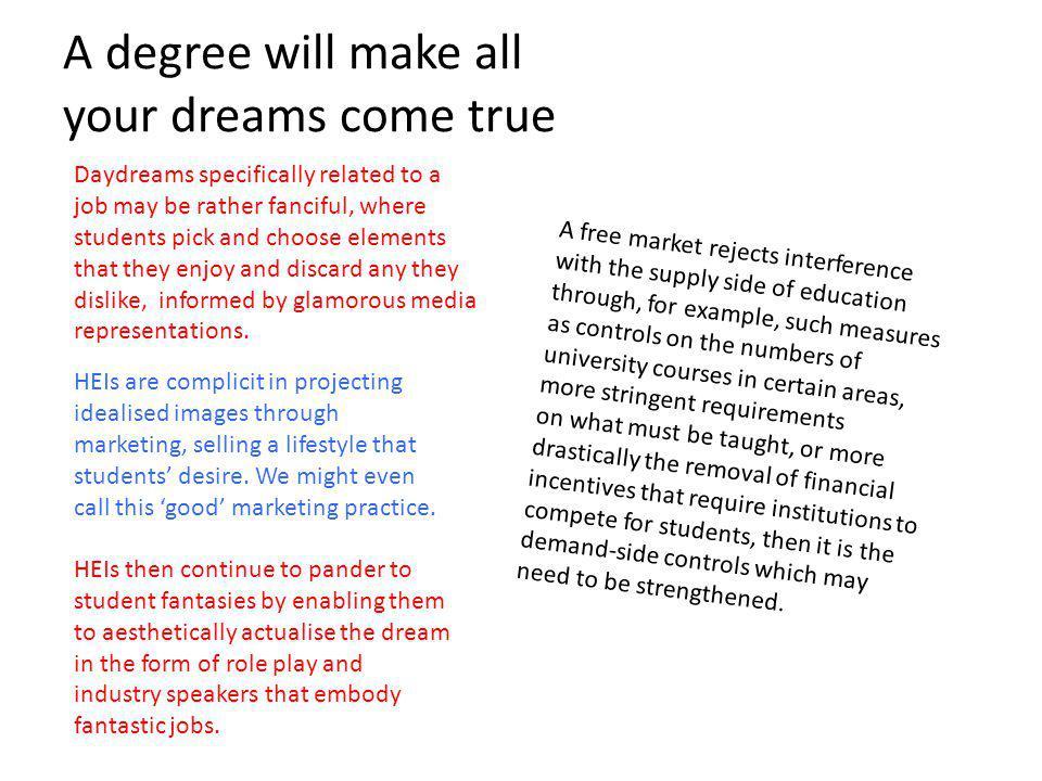 A degree will make all your dreams come true