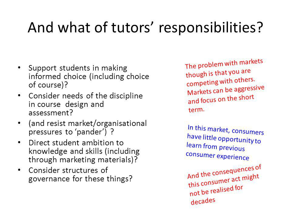 And what of tutors' responsibilities