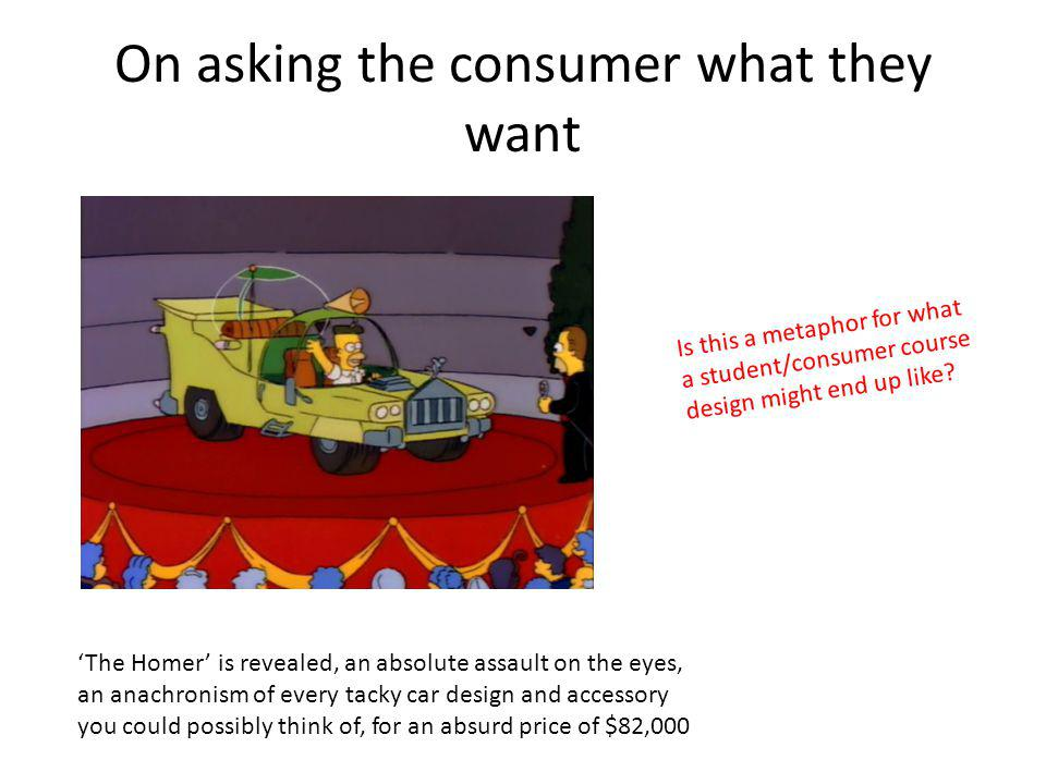 On asking the consumer what they want