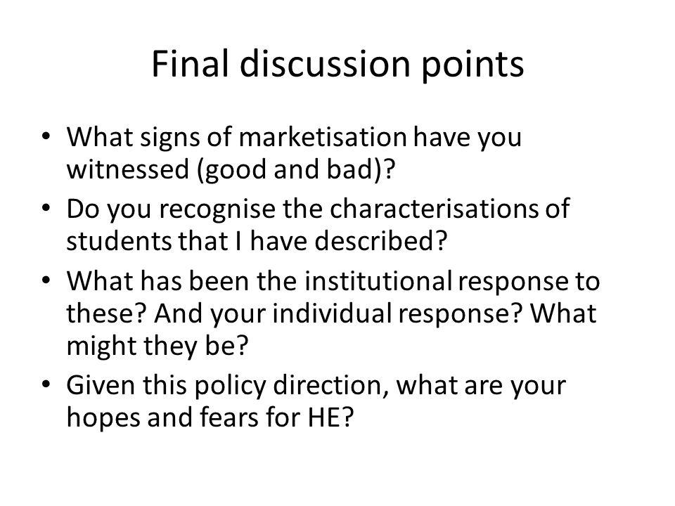 Final discussion points