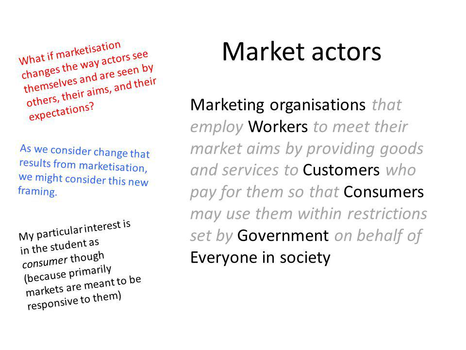Market actors What if marketisation changes the way actors see themselves and are seen by others, their aims, and their expectations