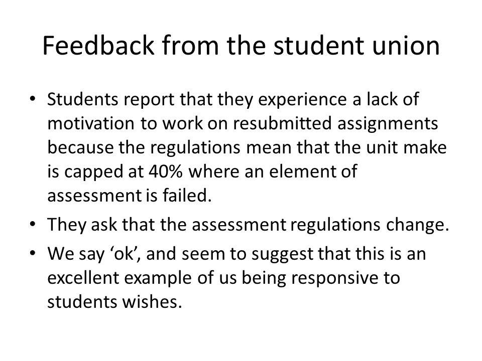 Feedback from the student union