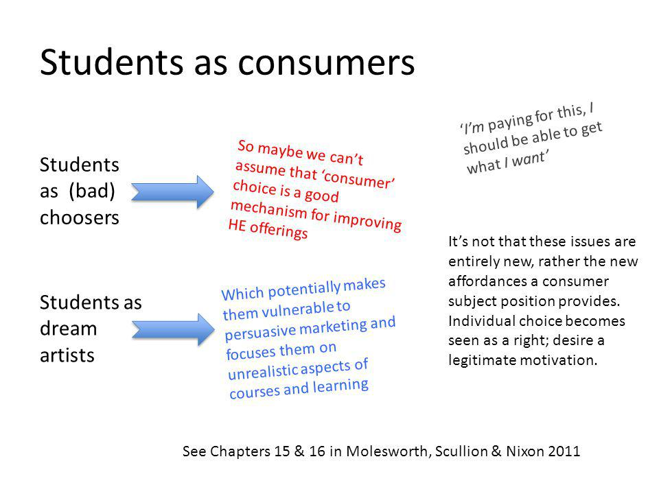 Students as consumers Students as (bad) choosers