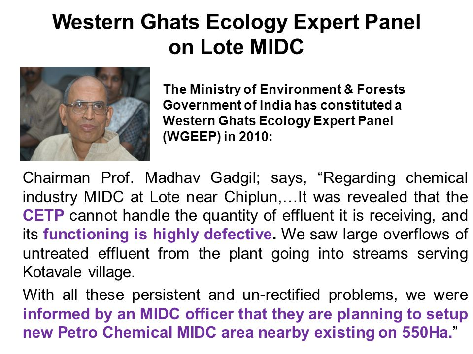 Western Ghats Ecology Expert Panel on Lote MIDC