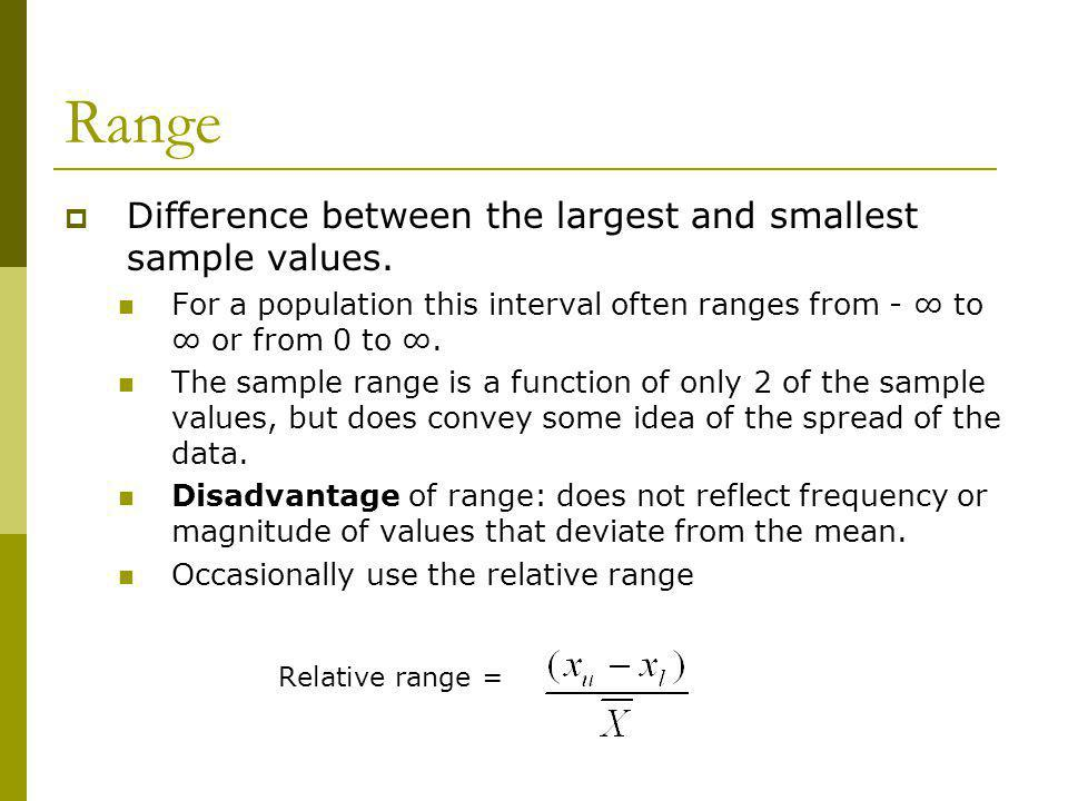 Range Difference between the largest and smallest sample values.