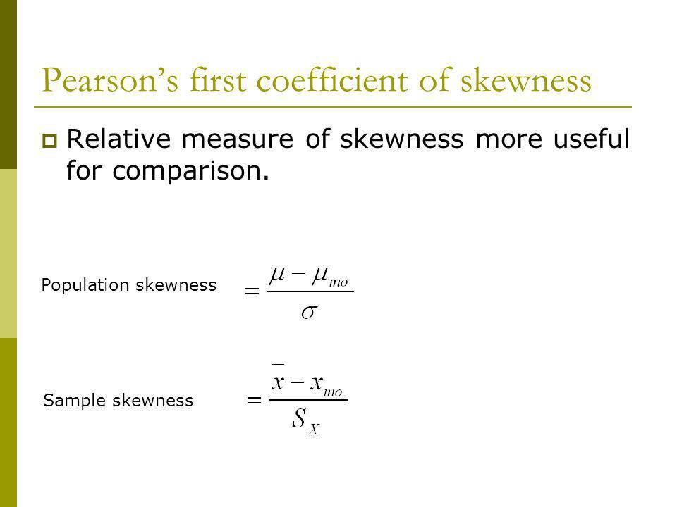 Pearson's first coefficient of skewness