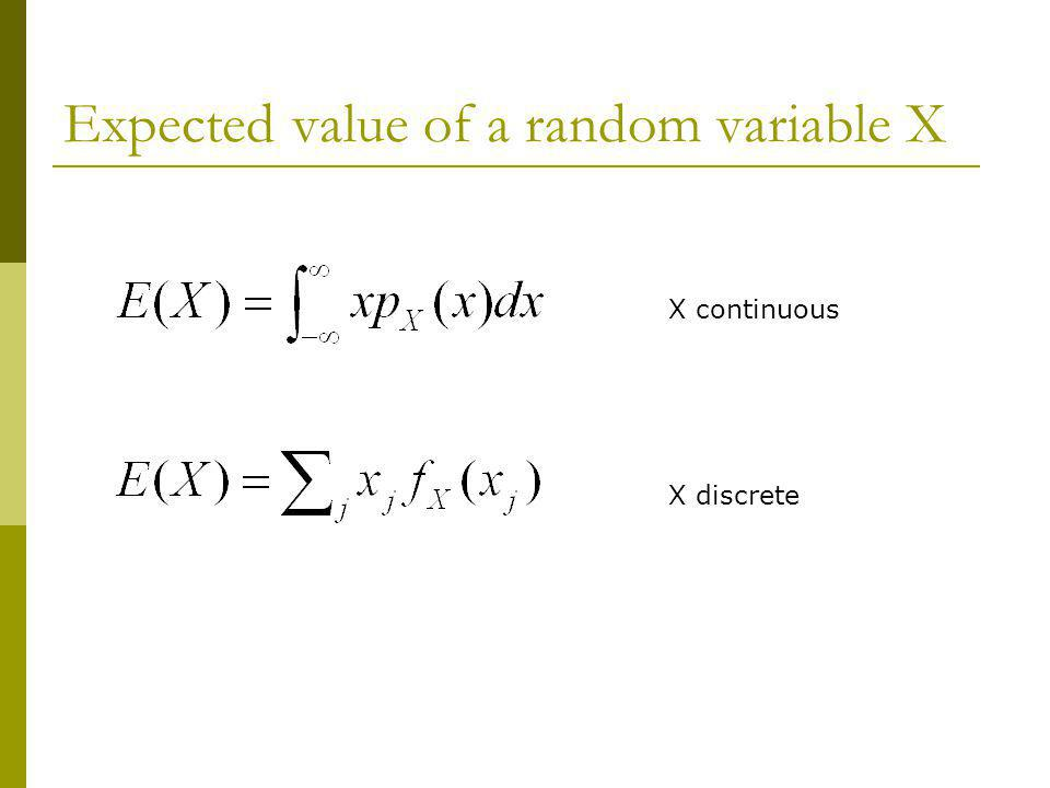 Expected value of a random variable X