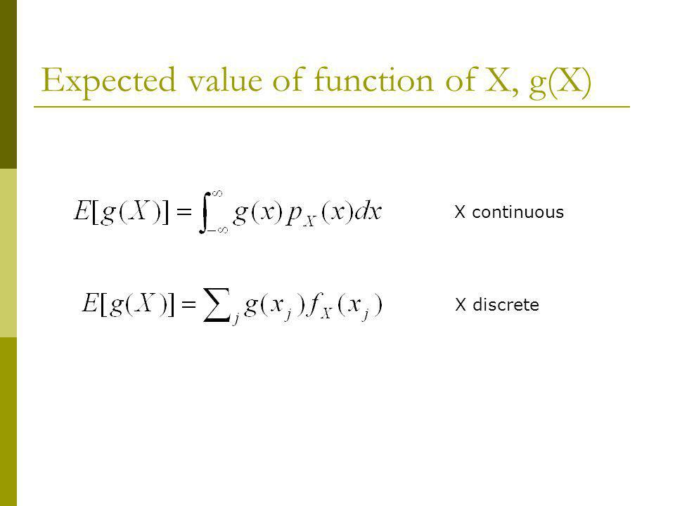Expected value of function of X, g(X)
