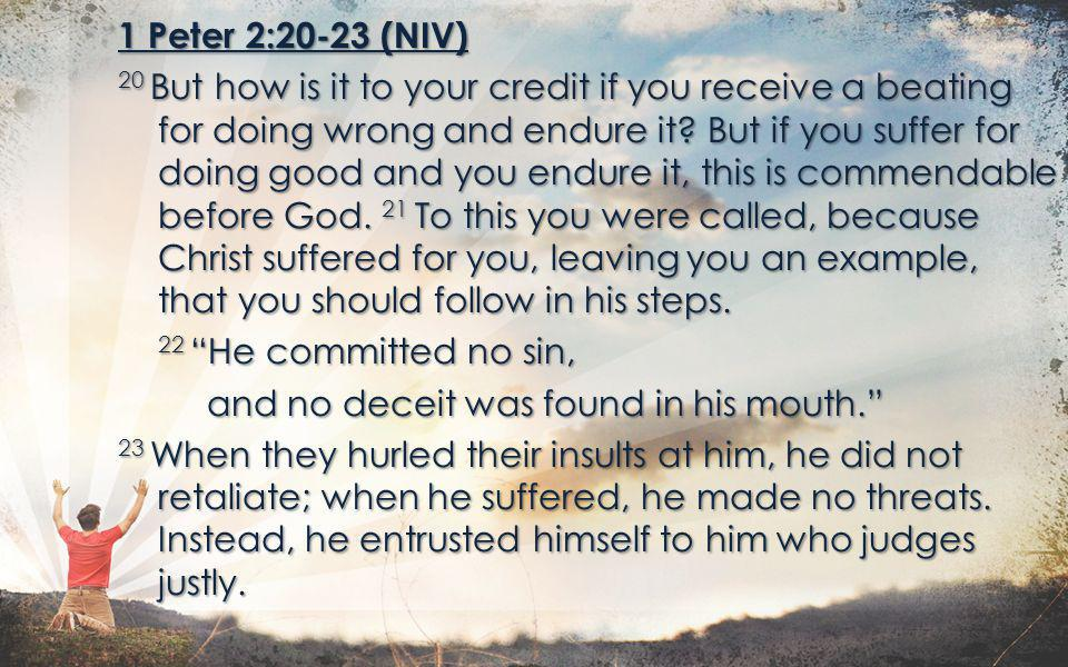 1 Peter 2:20-23 (NIV) 20 But how is it to your credit if you receive a beating for doing wrong and endure it.