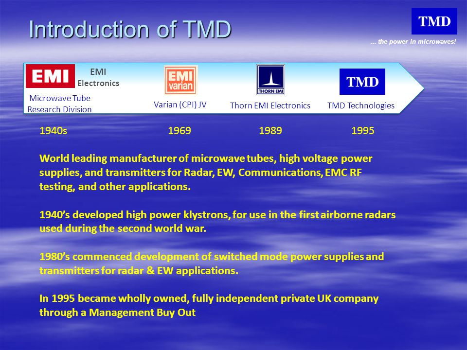 Introduction of TMD EMI. Electronics. Microwave Tube. Research Division. Varian (CPI) JV. Thorn EMI Electronics.