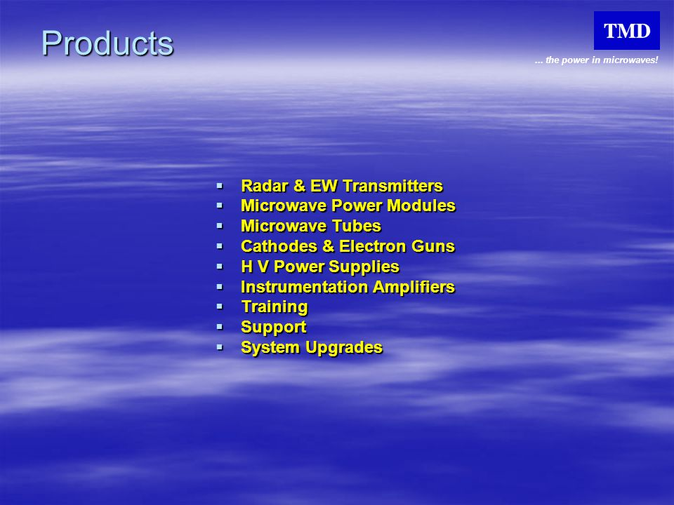 Products Radar & EW Transmitters Microwave Power Modules