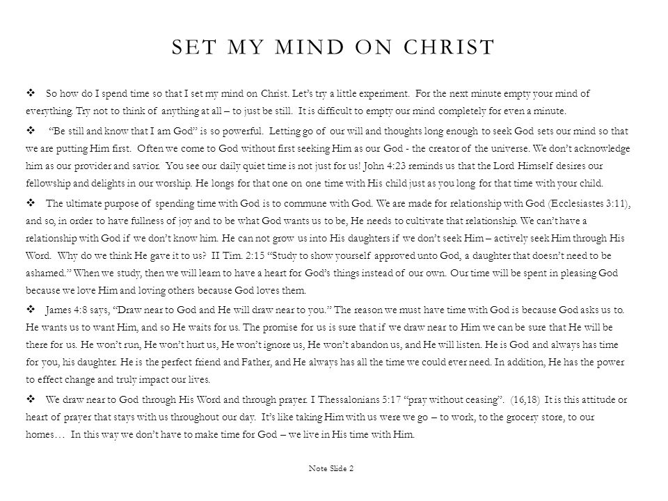 Set my mind on Christ