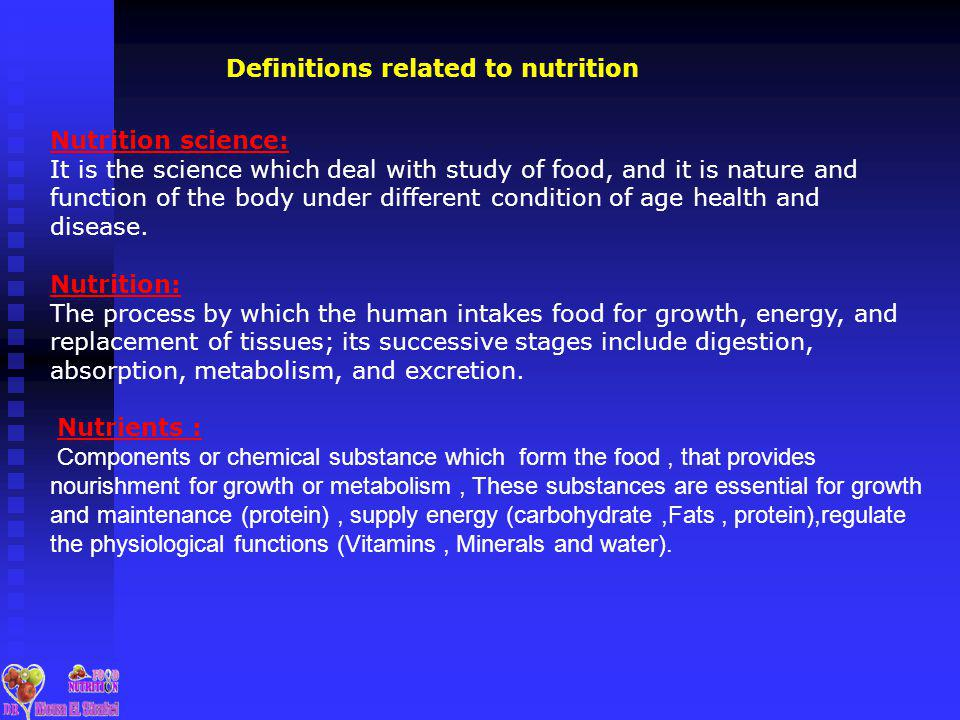 Definitions related to nutrition