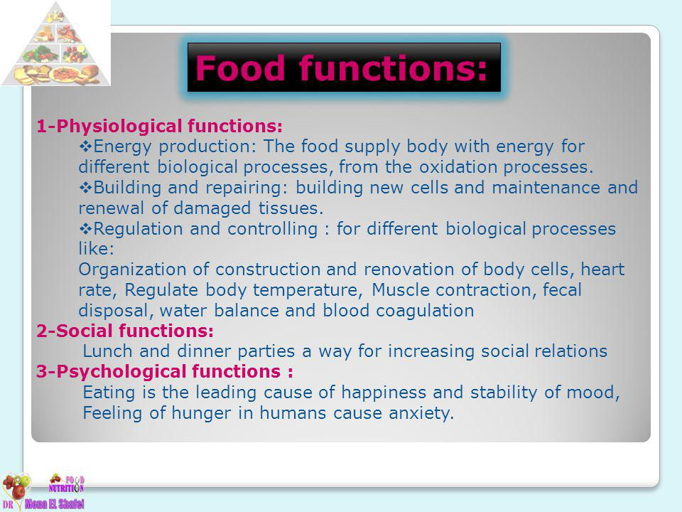 Food functions: 1-Physiological functions: