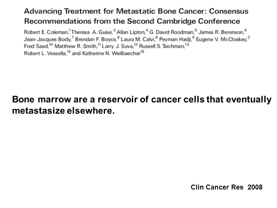 Bone marrow are a reservoir of cancer cells that eventually