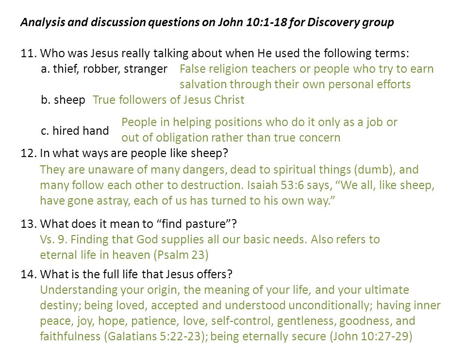 Analysis and discussion questions on John 10:1-18 for Discovery group