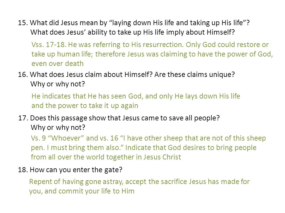 15. What did Jesus mean by laying down His life and taking up His life