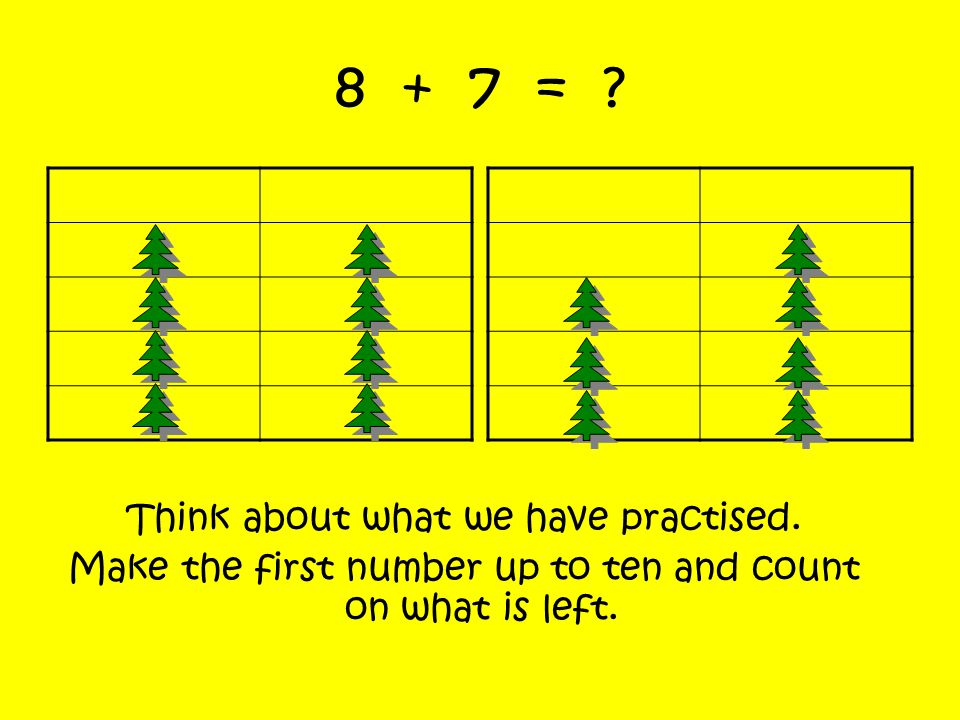 8 + 7 = Think about what we have practised.