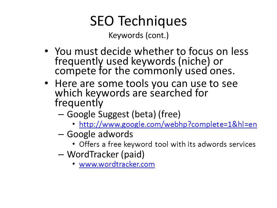 SEO Techniques Keywords (cont.)