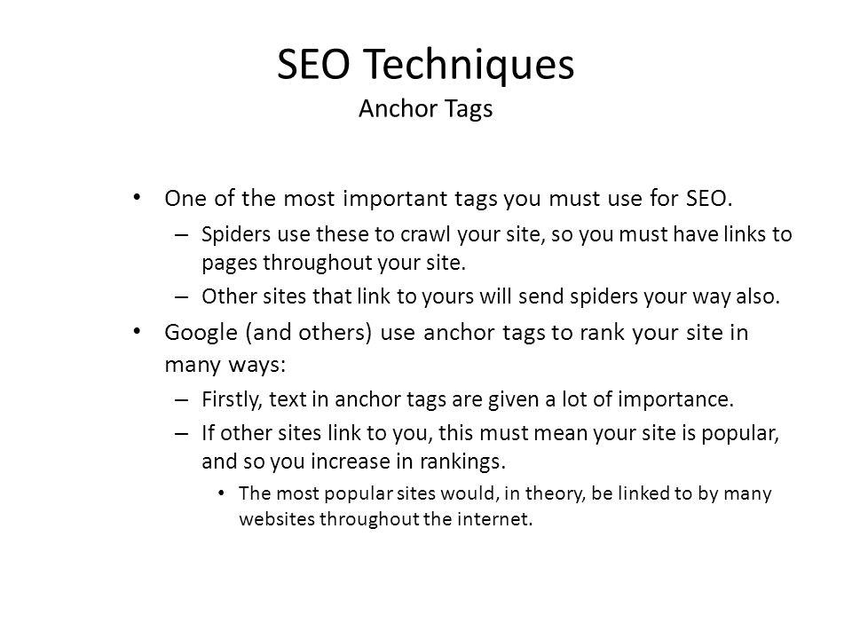 SEO Techniques Anchor Tags