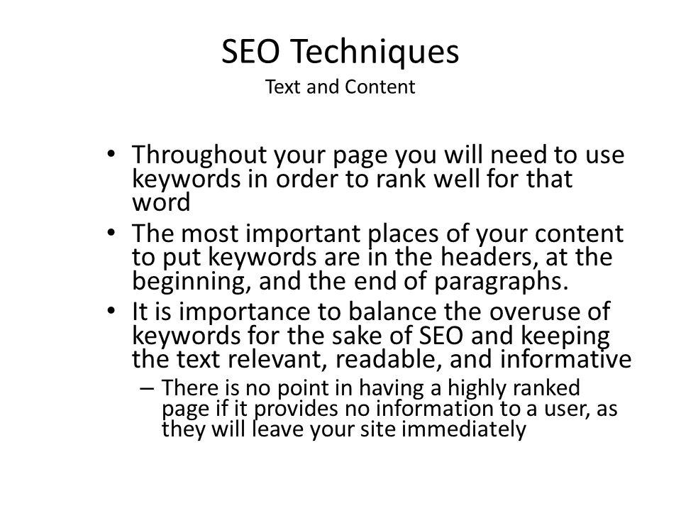 SEO Techniques Text and Content